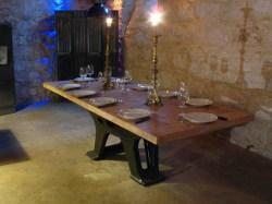 Table industrielle bois et fonte